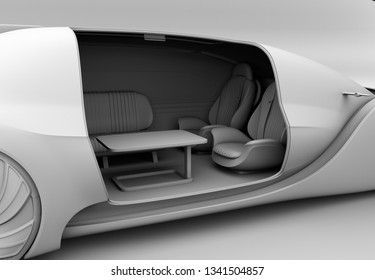Clay rendering of self driving electric car interior. Close-up view. 3D rendering image.