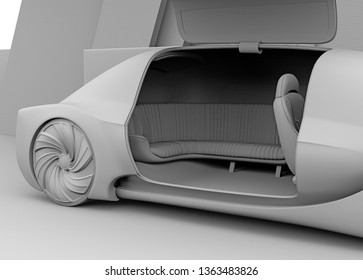 Clay rendering of self driving electric car exterior.  The right door opened. 3D rendering image.