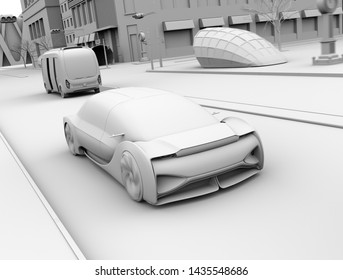 Clay rendering of self driving sedan driving on the road. Ride sharing concept. 3D rendering image.