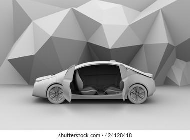 Clay rendering of self-driving car model. 3D rendering image.