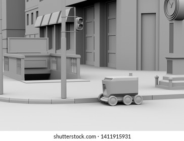 Clay rendering of self-driving delivery robot moving on the street. 3D rendering image.