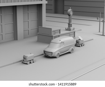 Clay rendering of self-driving delivery robots and delivery van on the street. 3D rendering image.