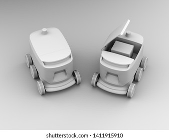 Clay rendering of self-driving delivery robots. One's cover opened for picking parcels. 3D rendering image.