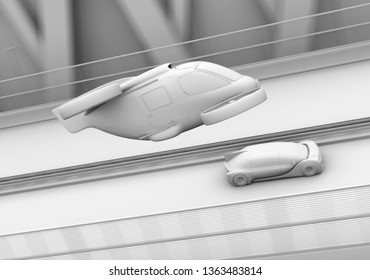 Clay rendering of self-driving passenger drone taxi and autonomous electric car on the highway. 3D rendering image.