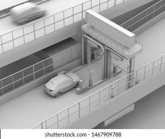 Clay rendering SUV passing through toll gate without stop by ETC (Electronic Toll Collection System). 3D rendering image.