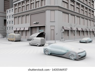 Clay rendering of traffic in modern city intersection. Connected cars concept. 3D rendering image.