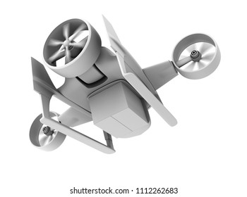 Clay rendering of VTOL drone carrying delivery package on white background. 3D rendering image.