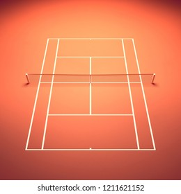 Clay tennis court seen from above, Tennis tournament, 3d illustration