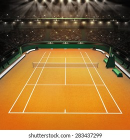 clay tennis court and stadium full of spectators with spotlights tennis sport theme render illustration background my own design
