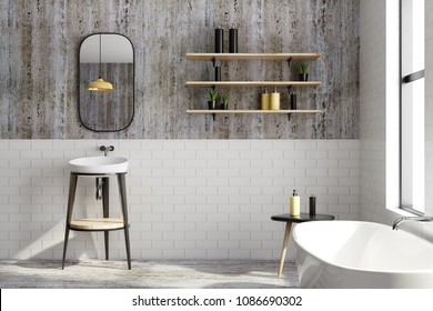 Clean black brick bathroom interior with window view and equipment. Design, style and real estate concept. 3D Rendering