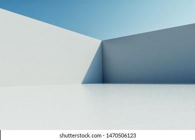 Clean blank outside empty car stage showroom scene 3D illustration