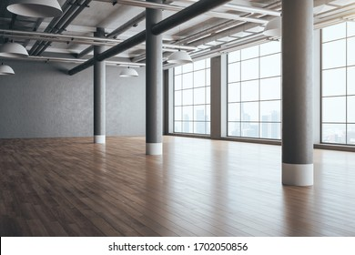 Clean concrete interior with columns, wooden floor and megapolis city view. Workplace and lifestyle concept. 3D Rendering