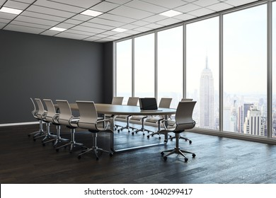 Clean conference room interior with copy space on wall and city view with daylight. Mock up, 3D Rendering