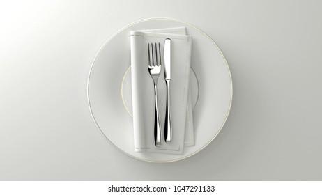 Clean design flatware. Fork, knife, towel on a plate. 3D rendering.