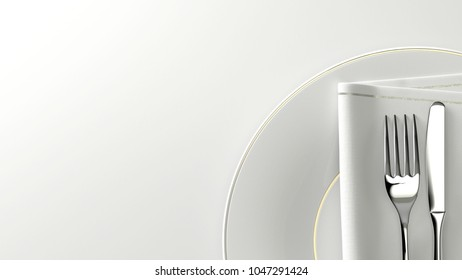 Clean design flatware. Fork, knife, towel on a plate with empty space. 3D rendering.