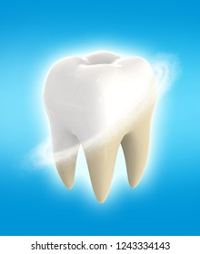 Clean and dirty tooth. Teeth whitening. Dental clinic services. 3d rendering