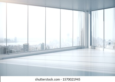 Clean, empty interior with panoramic windows and New York city view. 3D Rendering