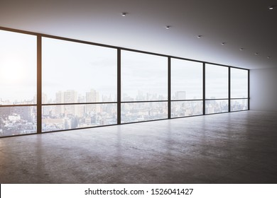 Clean empty office interior with panoramic new york city view, daylight and reflections on concrete floor. 3D Rendering