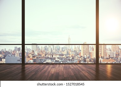 Clean empty office interior with panoramic new york city view, daylight and reflections on wooden floor. 3D Rendering