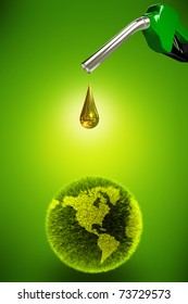Clean energy concept, gas pump dropping clean oil onto a green planet