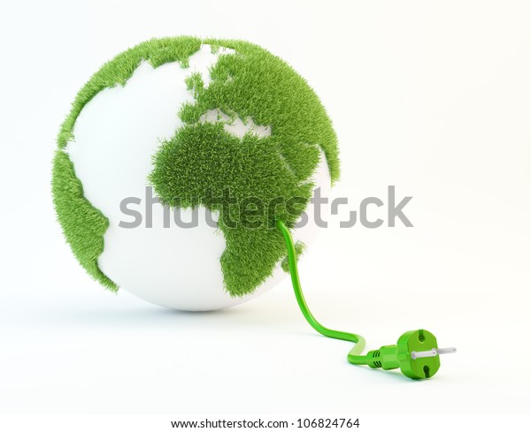 Clean energy concept illustration - World with a power cord