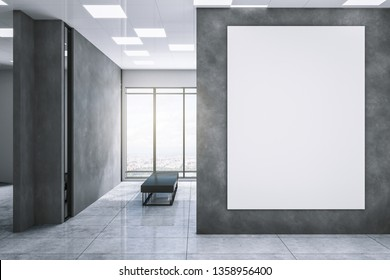Clean exhibition hall interior with empty white billboard on concrete wall, city view and daylight. Gallery concept. Mock up, 3D Rendering