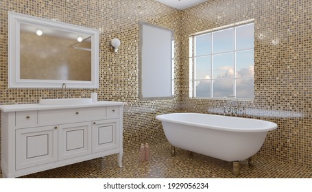 Clean and fresh bathroom with natural light. 3D rendering.. Empty paintings