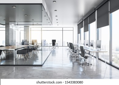 Clean glass concrete office interior with city view, daylight, furniture and equipment. 3D Rendering