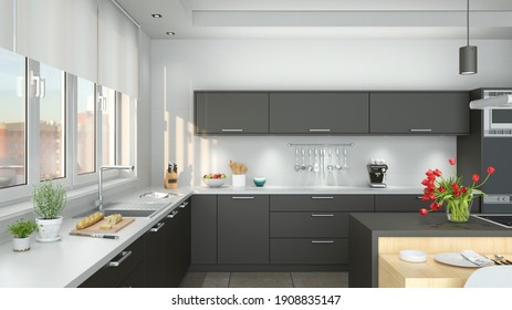 Clean gray kitchenette in modern kitchen during the day (3d renderings)