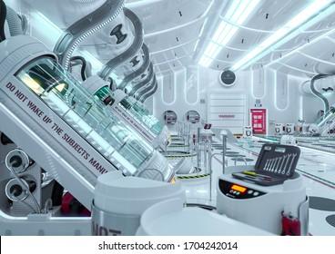 clean hibernation chamber , 3d illustration