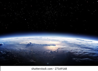 Clean horizon of Earth from space - landscape exterior