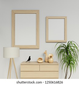 clean interior space 3d rendering of two a1 and a2 poster mockup design with vertical wooden frame hanging on the clean white wall in family room in straight front camera view