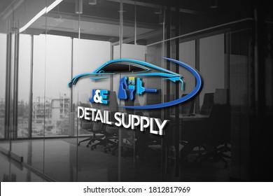 clean logo design in 3D Glass