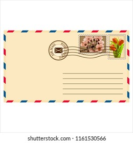 clean mail envelope with a stamp and stamp in vintage style on white background illustration