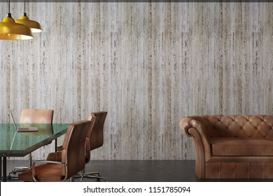 Clean meeting room interior with furniture, concrete wall and lamps. 3D Rendering