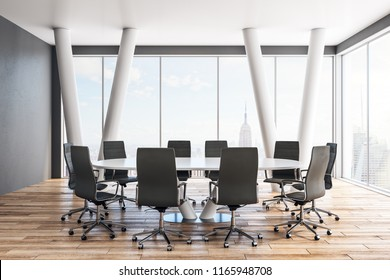Clean meeting room interior with furniture and panoramic New York city view. 3D Rendering