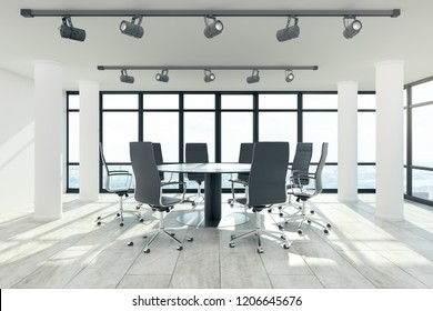 Clean meeting room interior with furniture, city view and daylight. 3D Rendering