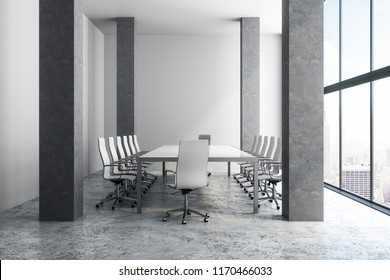 Clean minimalistic meeting room interior with panoramic city view and daylight. Style and design concept. 3D Rendering
