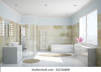 Clean modern bathroom with terracotta tiles and a bathtub