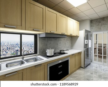 Clean modern kitchen design, 3D rendering