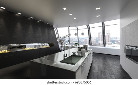 Clean modern kitchen island in luxurious apartment with large windows. 3d Rendering.