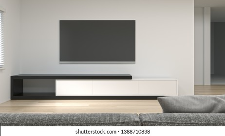 clean modern Tv wood white cabinet in empty room interior background  3d rendering home designs,shelves and books on the desk in front of  wall empty wall