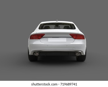 Clean modern white business car - back view - 3D Illustration