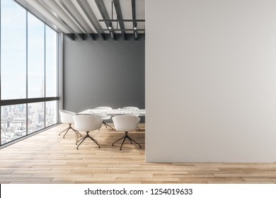 Clean office with copy space on wall and city view. Mock up, 3D Rendering