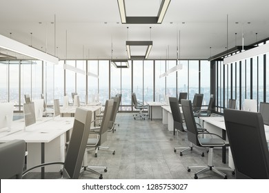 Clean office interior with panoramic city view and daylight. 3D Rendering
