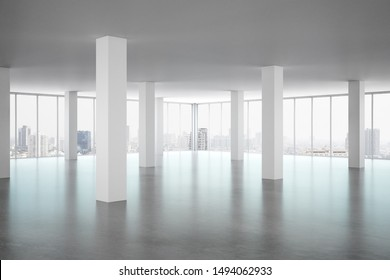 Clean office interior with panoramic window, new york city view and daylight. 3D Rendering