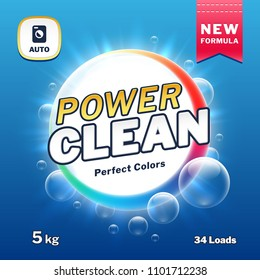 Clean power - soap and laundry detergent packaging. Washing powder product label illustration. Package power powder