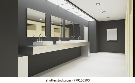 Clean public toilet room empty with wooden partition. 3D rendering. Empty picture