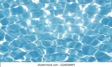 Clean quivering still water background. Pure blue water in the pool with light refraction. Liquid surface with glowing reflection. Illustration.