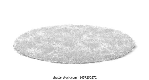 Clean round floor carpet. 3d illustration isolated on white background